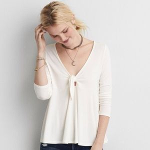 Aerie Soft & Sexy T Tie Front Top